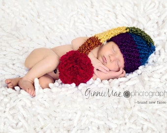 Rainbow Baby hat Stocking Cap Long Tail Elf striped hat baby cap Newborn photography prop w pom-pom (also available in 1-3mos, 3-6mos)