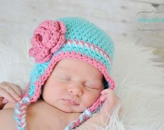 Newborn photography prop earflap hat baby beanie in turquoise, white and pink with flower.  Sizes nb, 1-3mos, 3-6mos, 6-12mos.