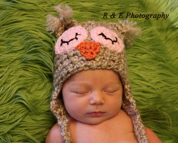 Newborn Owl Hat Photography Prop earflap baby beanie Oatmeal w Sleepy eyes. Sizes nb, 1-3mos, 3-6mos, 6-12mos.  More eye colors available.