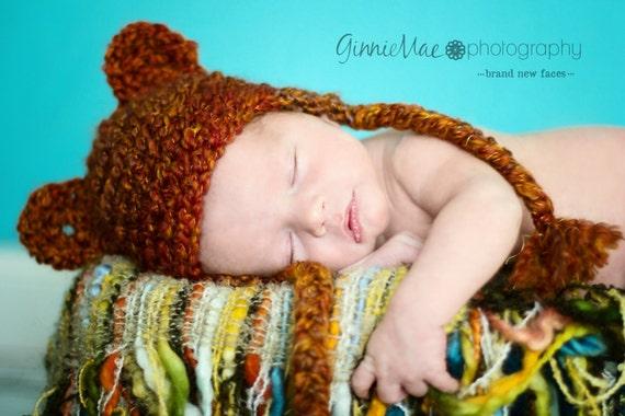 Newborn Teddy bear earflap baby beanie hat ANY COLOR, char inside (sizes nb, 1-3mos, 3-6mos, 6-12mos)
