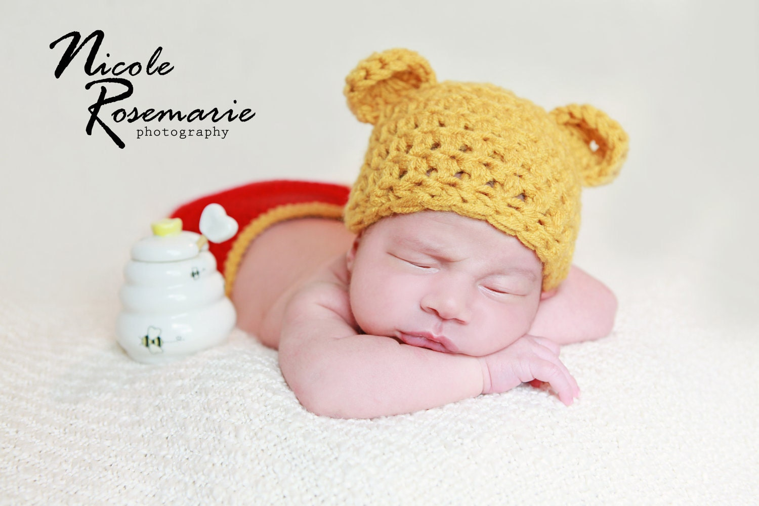 Crochet Pooh Bear Hat Pattern : Newborn winnie the pooh hat with diaper cover great