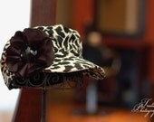 Womans Hat Black and Ivory Cheetah