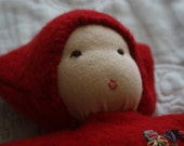 Waldorf Baby Doll, Red Waldorf Doll, Embroidered Waldorf Doll, Baby Doll