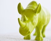 Lime Green Rhino - - or CHOOSE YOUR COLOR - Painted Toy Zoo / Safari Animal Repurposed for Home Decor