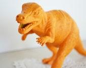Orange Dinosaur - Painted Toy Animal Repurposed for Home Decor