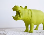 Lime Green Hippo - or CHOOSE YOUR COLOR - Painted Toy Zoo / Safari Animal Repurposed for Home Decor