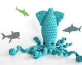 Amigurumi Sparkling Squid - Crocheted in Turquoise