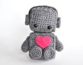 Amigurumi Robot Crocheted in Grey with Pink Heart - BubblegumBelles