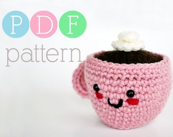 Amigurumi Coffee or Tea Cup Pincushion - Crochet PDF Pattern