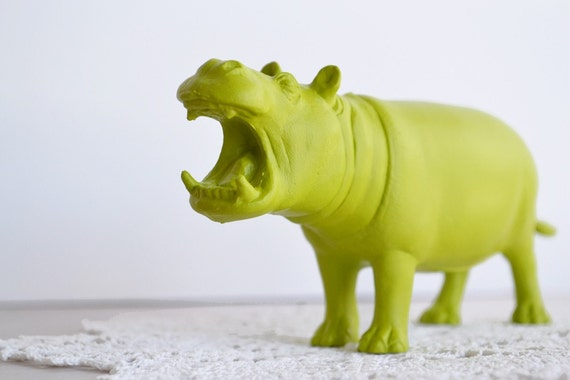 Lime Green Hippo Or Choose Your Color Painted By