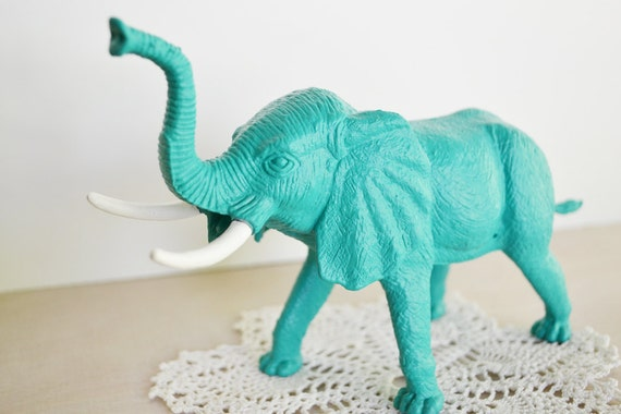 LAST ONE - Turquoise Elephant - - or Choose Your Color - Painted Toy Zoo / Forest Animal Repurposed for Home Decor