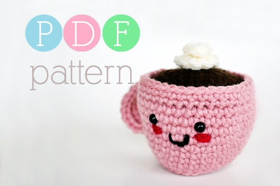 Amigurumi Coffee or Tea Cup Pincushion - Crochet PDF Pattern - INSTANT DOWNLOAD