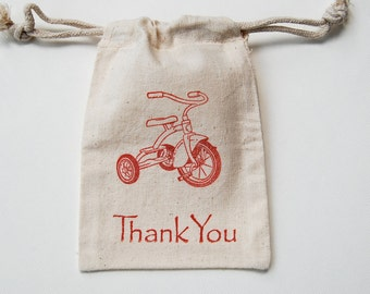 Tricycle Muslin Bags / Set of 30 / Birthday Party Favor Bag