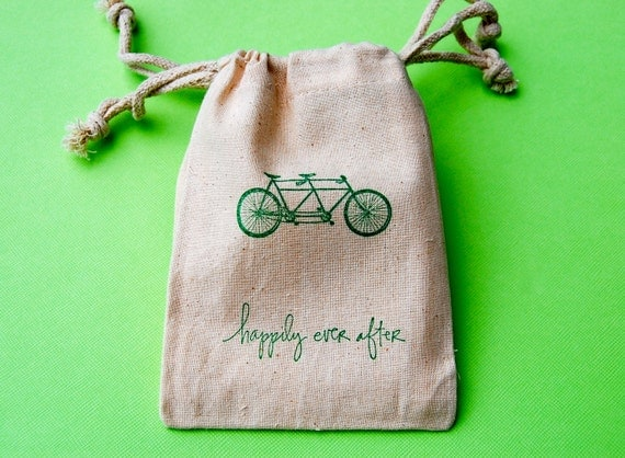 Muslin Bags / Tandem Bicycle / Happily Ever After / Set of 50