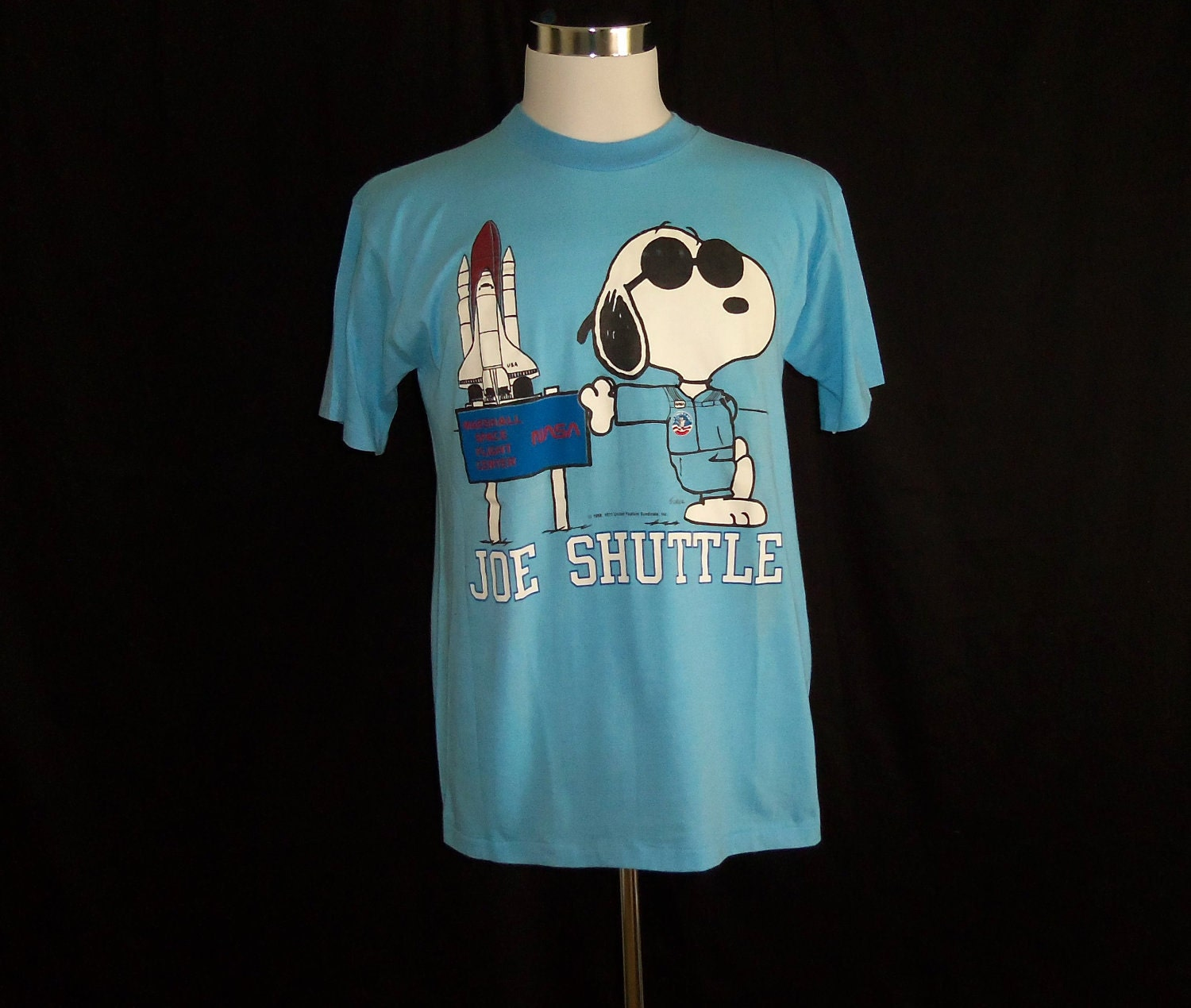 Vintage 80's Snoopy Nasa Space Shuttle Blue T-Shirt Sz