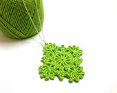 Lime Green Crochet Pendant with Sterling Silver Necklace