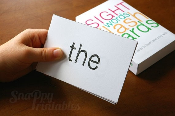 Printable Elementary Sight Words Flash Card Set with Box
