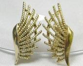 Sale Vintage Earrings Fanned Gold Tone Clip On Earrings Signed Coro