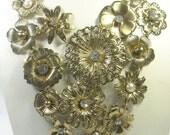 Vintage Necklace Rhinestone Flower Bib Huge Chunky Necklace Runway