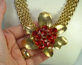 Vintage Necklace Huge Red Rivoli Rhinestone Flower Necklace Runway Statement