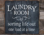 Large Wood Sign - Laundry Room - Farmhouse Sign - Subway Sign - Shabby Chic - Home Decor - Laundry Sign