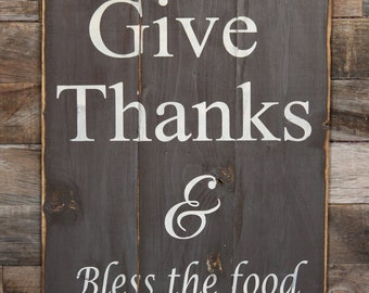 Large Wood Sign - Give Thanks - Subway Sign