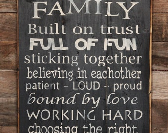 Large Wood Sign - We are a Family - Subway Sign