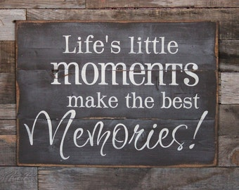 Large Wood Sign - Lifes Little Moments make the best Memories - Subway Sign - Home Decor - Memories - Inspiration - Gallery Wall - Farmhouse