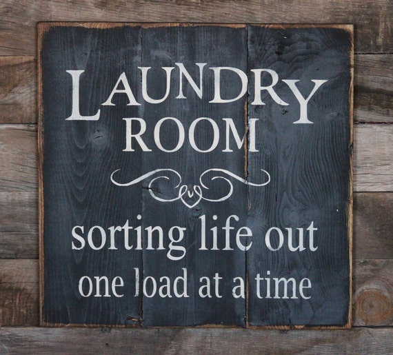 Large Wood Sign Laundry Room Subway Sign By Dustinshelves