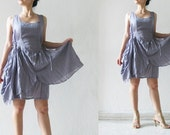 Mermaid mini layers gray cotton dress