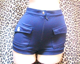 1960s Women Hot Pants Shorts - Navy Blue - Made in France - Designer Logo - New/old Stock - W: 25