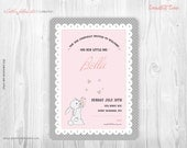 Custom printable invitation - (Catch a falling star -  Bunny pink) Sip and See, First Birthday, Baby Shower , Easter