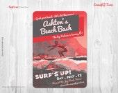 Vintage Surfer Party - Custom Printable Invitation - Surfer Party, Beach Party, Swimming Party, Pool Party