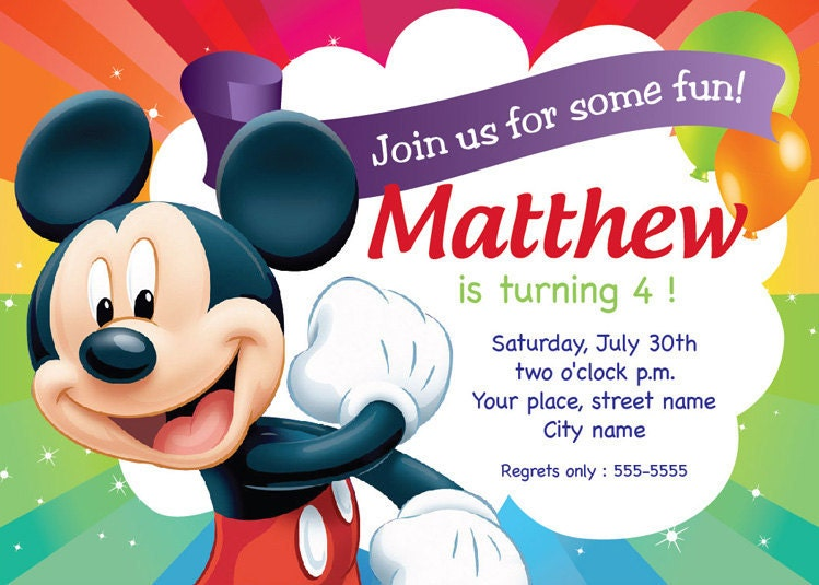 Mickey Mouse Birthday Invitation Card Printable Template