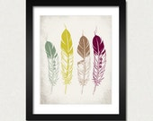 Ethnic Feathers, Modern Home Decor, NATIVE American Tribal Wall Decoration, Feather Poster, Retro Inspired Fine Art Print, SALE buy 2 get 3