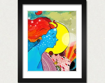 Moon Girl Art Print 8x10 Original illustration SALE buy 2 get 3