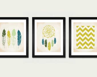 Native Set 3 Prints Feathers, Dreamcatcher and Chevron Art Prints 8x10 inch American Tribal