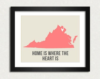 Virginia Home is 10 x 8 inch Travel Map I heart USA SALE buy 2 get 3