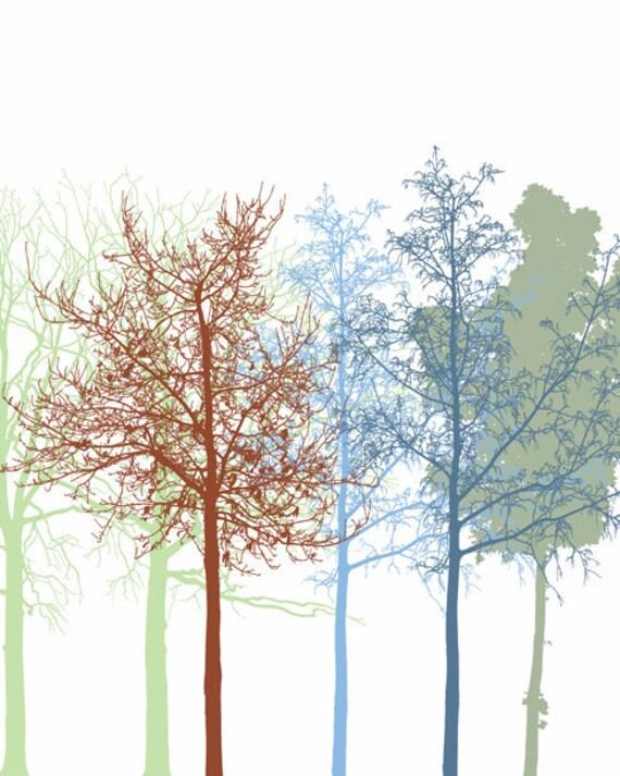 The Trees 2, Fine Art Print, Wall Decoration, Forest, Modern Home Decor, Minimalist Art, Blue, Grey, Brown, Tree Art Poster sale buy 2 get 3