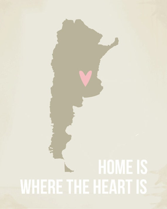 Argentina Map Print, Argentina Poster, Modern Home Decor, Home is Where the Heart is, Wall Art, Travel, Long Distance Quote SALE buy 2 get 3