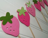 Strawberry Cupcake Toppers Party Picks in Pink with Damask Set of 12