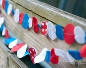 SALE Red White and Blue with Glitter and Polka Dot Felt Garland