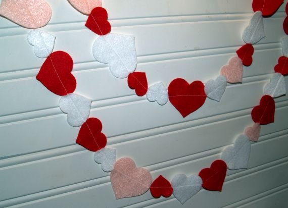 SALE Valentine Heart Garland in Red Pink and White Felt