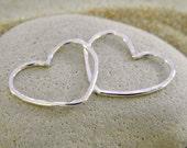 Silver Heart Connectors - 1 Pair
