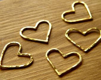 Gold Vermiel Heart Connectors - Pack of 5