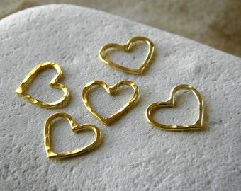 Gold Vermeil Petite Love Heart Pendant Connectors