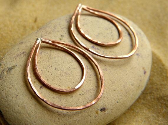 Copper or Silver Pear Drops   Earring Drops Dangles - 1 Pair