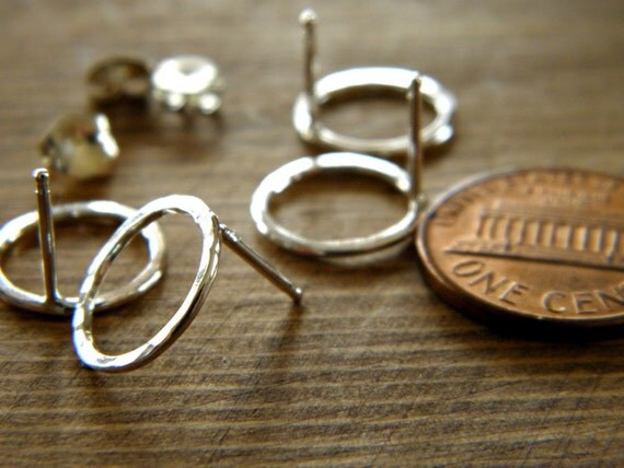 Sterling Silver | 14 K Gold Filed Karma Circle Post Earrings - 2 Pairs