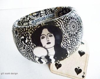 Black and white bangle - eco friendly jewelry - Decoupage jewelry -  Art Nouveau big bangles - Gill Scott Decoupage - eclectic jewellery