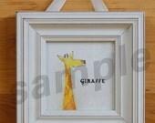 """GIRAFFE Baby Animal 4""""x4"""" Unframed Art Print for baby / infant nursery, or toddler or child's room"""